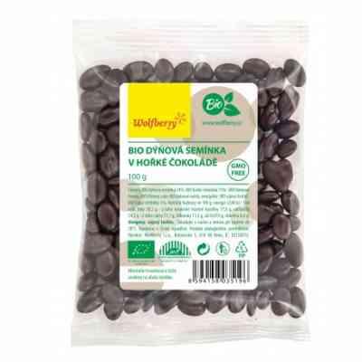 Dýňová semínka v hořké čokoládě Wolfberry BIO 100 g