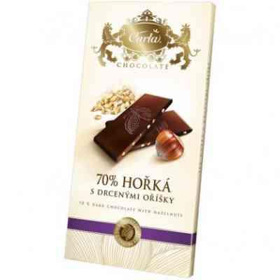 Hořká čokoláda s lískovými oříšky
