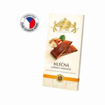 Mléčná čokoláda s drcenými oříšky v karamelu